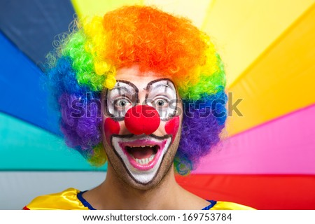 Funny clown portrait - stock photo