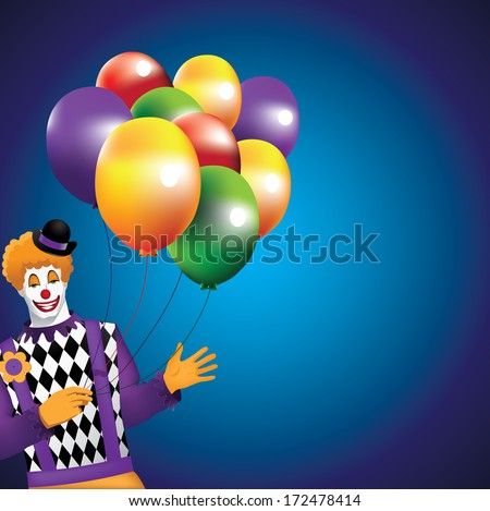Funny Clown With Balloons Background.  - stock photo