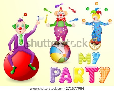Funny clowns at party - stock photo