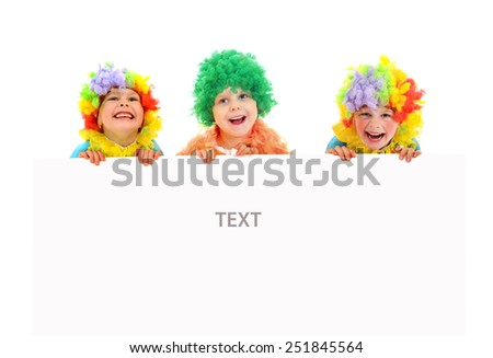 Funny clowns at the party with white blank - stock photo