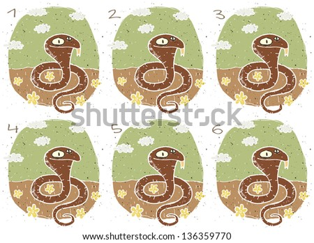 Funny Cobra Visual Game for children. Task: Find two identical images (match the pair)! Answer: No. 1 and 6. (for vector see image 114705103) - stock photo