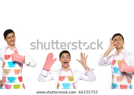 Funny collage with three cooking men in apron. isolated on white background - stock photo