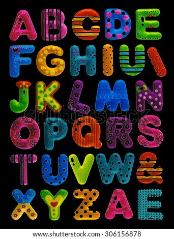 Funny colorful letters of the alphabet and some symbols