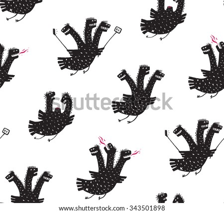 Funny Comic Humorous Seamless Pattern Dragon Hand Drawn Print Design. A humorous smiling monster character black and white illustration. Three headed dragon rough drawing. Raster variant. - stock photo