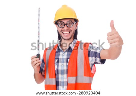 Funny constructon worker with tape-line isolated on white - stock photo