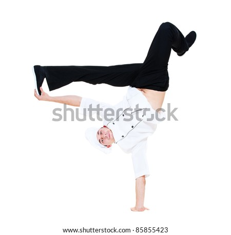 funny cook dancing break dance. isolated on white background - stock photo