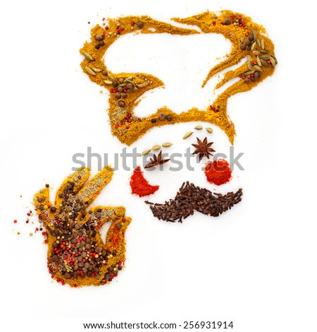 Funny cook made of different spices and seasoning mix showing an a-ok gesture, isolated on white. - stock photo