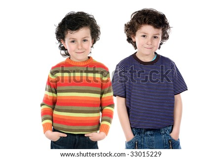 Funny couple of children twin on a over white background - stock photo