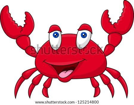 Funny crab cartoon - stock photo