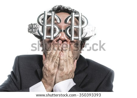 Funny Crazy businessman with dollar glasses