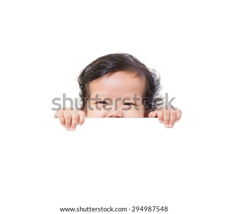 funny cute baby with white blank banner in hand isolated,white background