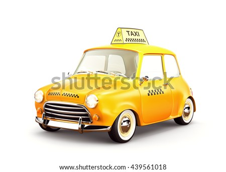 Funny cute cartoon retro yellow taxi car. Unusual 3D rendering. Isolated on white. Taxi concept illustration