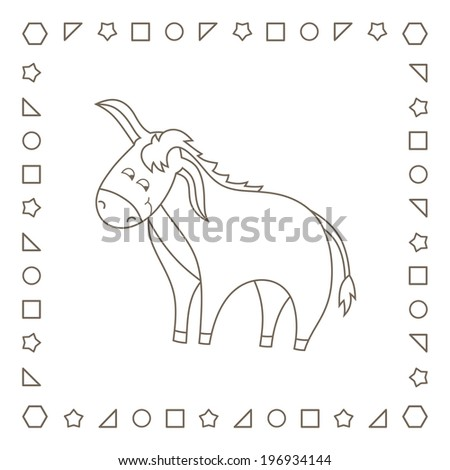 Funny cute donkey. Coloring page. Coloring book. - stock photo