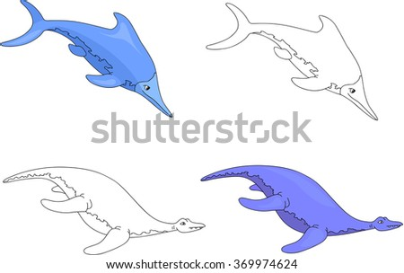 Funny cute ichthyosaurus and pliosaurus. Educational game for kids. Coloring book. illustration - stock photo