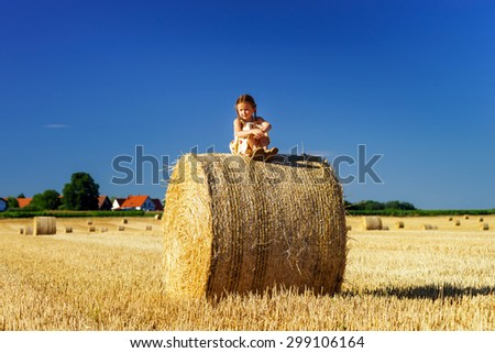 Funny cute little girl posing on the haystack in summer field, Alsace, France - stock photo