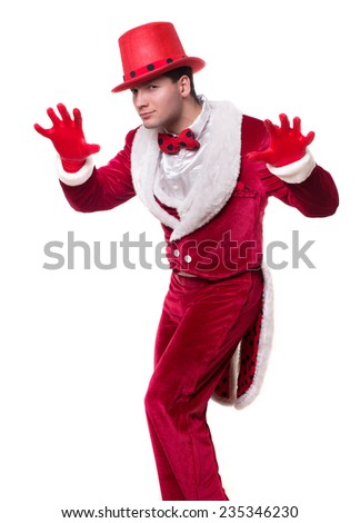 Funny cute man. circus actor. red tails. cylinder hat. - stock photo