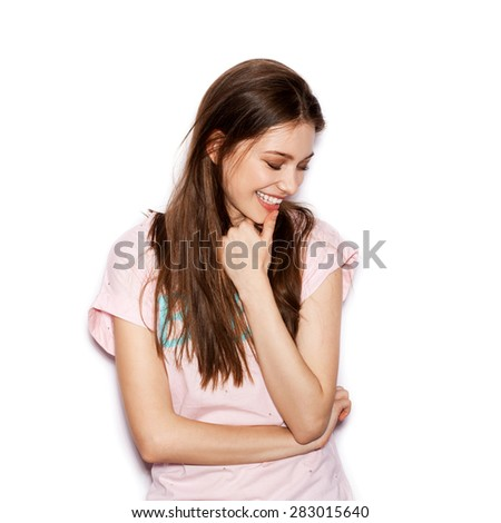 funny cute smiling woman. Beautiful laughing girl . White background, not isolated - stock photo