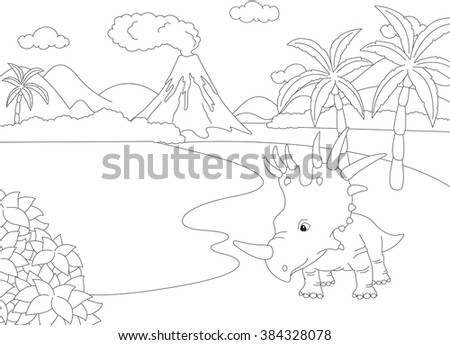 Funny cute styracosaurus on the background of a prehistoric nature. Educational game for kids. Coloring book. illustration - stock photo