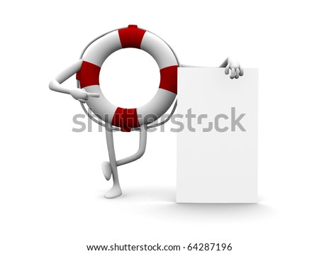 Funny 3d cartoon life buoy with an empty board - stock photo