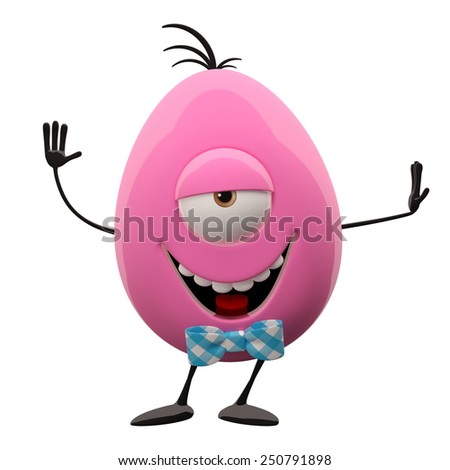 Funny 3D easter color egg, happy character, cheerful cartoon, amusing egg isolated on white background - stock photo