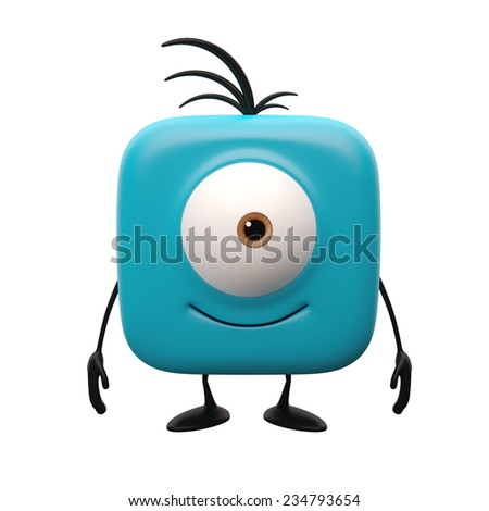 Funny 3d render button, cheerful boy with one eye, web icon, mascot representative for websites, television blue icon, monitoring, humorous universal representative object isolated on white background - stock photo
