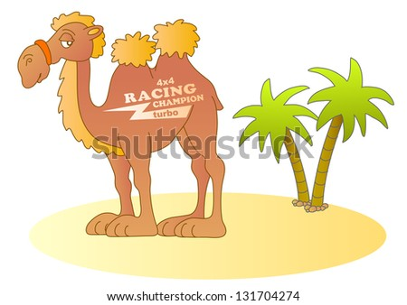 Funny desert racer. Raster version, vector file also included in the portfolio. - stock photo