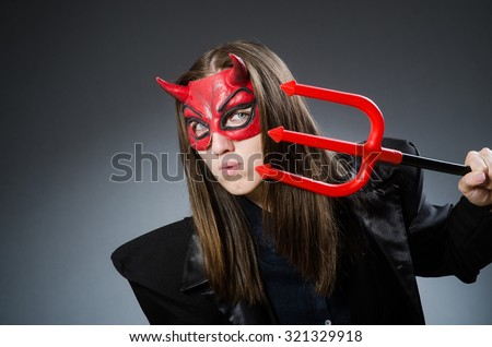 Funny devil in halloween concept - stock photo