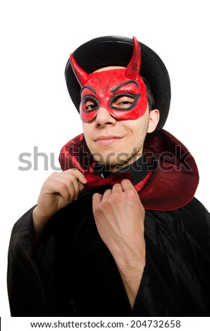 Funny devil isolated on the white background - stock photo