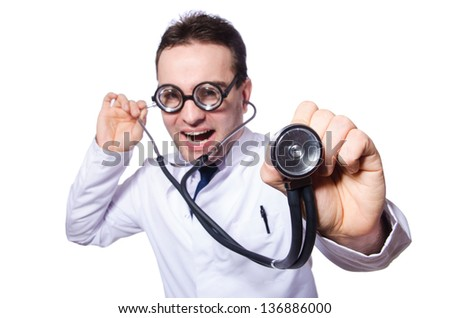 Funny doctor isolated on the white - stock photo