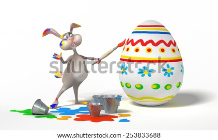 Funny Easter Bunny paints on eggs on white background. Holiday 3d illustration - stock photo