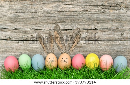 Funny Easter Eggs Bunnies With Big Ears Cute Holidays Decoration Vintage Style Toned Picture