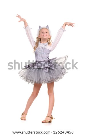 funny emotional girl on white background