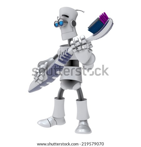 FUNNY EMOTIONAL ROBOT. Cyborg. Android. Isolated character. 3d tooth brush