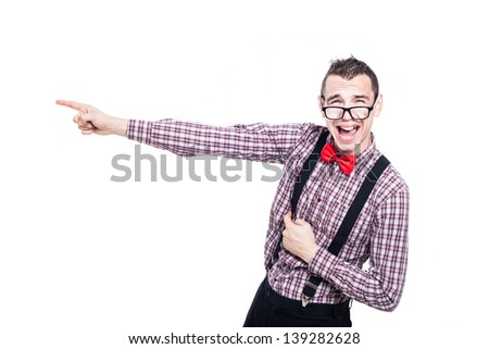 Funny excited nerd man pointing, isolated on white background - stock photo