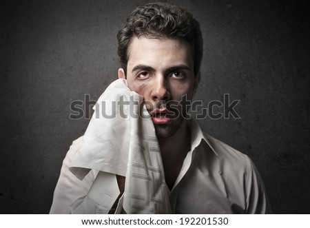 funny expression of fatigue - stock photo