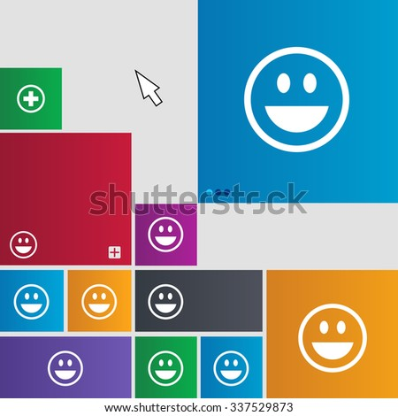 funny Face icon sign. Metro style buttons. Modern interface website buttons with cursor pointer. illustration