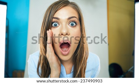 funny face of young business woman . open mouth. teeth. emotional portrait isolated.