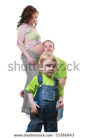 funny family isolated on white - stock photo