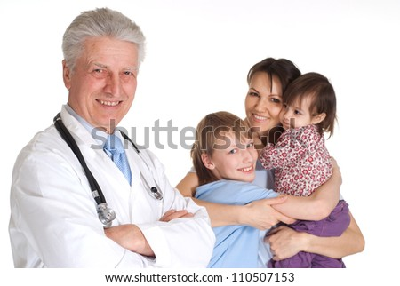 Funny family with children go to the doctor