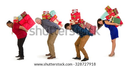 Funny family with too many christmas presents on their back - stock photo