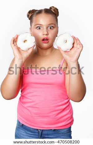 Funny Fat Little Girl Surprised Eating Donuts Unhealthy Food And Child With Overweight Plus