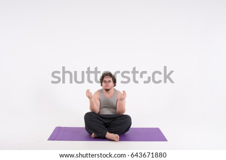 Funny Fat Man And Yoga Big Guy