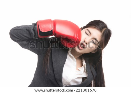Funny fitness woman with boxing gloves.Beautiful young asian woman,Thai girl.Closeup portrait , Positive human emotions,facial expressions,feeling ,signs,symbol,shot isolated on white background. - stock photo