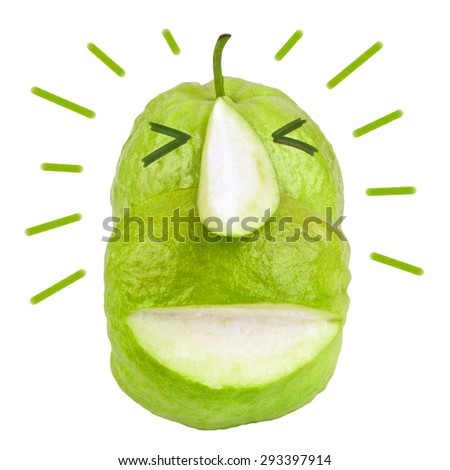 Funny fruit face slice green guava and drawing vector isolated on white background. Humor and happy character. Front view. Close up. - stock photo