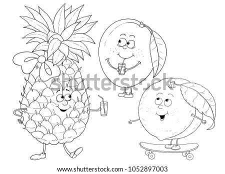 Funny Fruits Pineapple Mango Peach Illustration For Children Coloring Page