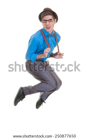 funny geek  business man jumping - stock photo