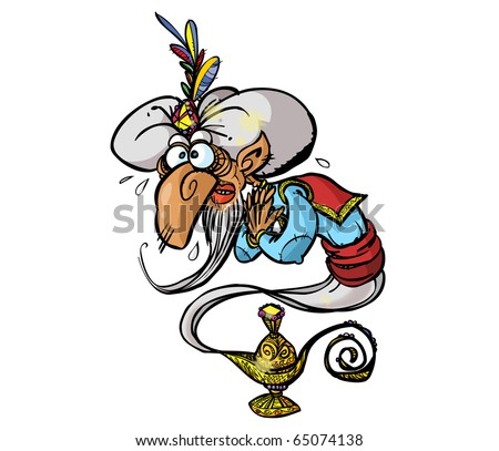 Funny Genie In A Lamp On White Background.