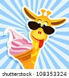 funny giraffe with sunglasses and pink ice cream - bitmap copy - stock vector