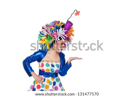 Funny girl clown looking something over her hand isolated on white background