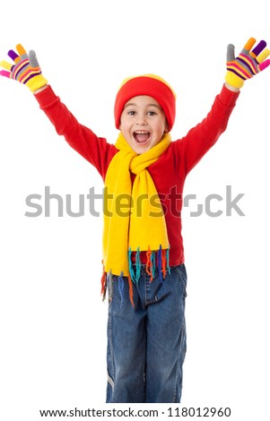 Funny girl in winter clothes with greeting sign, isolated on white - stock photo